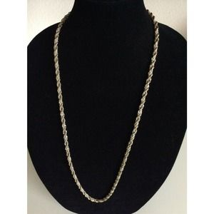 Monet Silver Gold 2 Tone Chain Long Necklace 32""